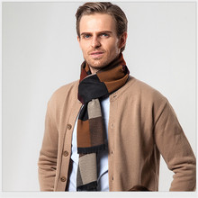 Men`s Scarves & Wraps Boss Men Scarf Plaid Design Warm Winter Wraps For Business Man Luxury Brand Imitation Cashmere Scarves(China)