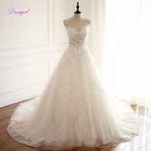 Buy Dreagel Robe De Mariage O-neck Beaded Sashes A-Line Wedding Dress 2017 Charming Lace Appliques Court Train Princess Wedding Gown for $217.29 in AliExpress store