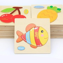Quality Cartoon Animal Vehicle Fruit 3D Colorful Wooden Puzzle Learn English Word 1 2 3 Years Baby Educational Toys Early Train(China)
