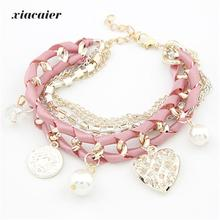 xiacaier Fashion Lace Braided Bracelet Gold Color Tassel Chain Heart Coin Simulated Pearl Beads Bracelet for Women Jewelry(China)
