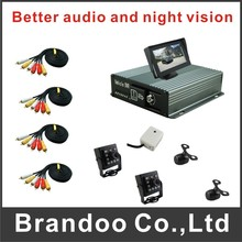 4 channel CAR DVR recorder system, used for bus,taxi,uber cars, including microphone and 4.3inch monitor, complete kit for car