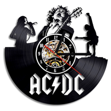 Free Shipping 1Piece Brand New AC/DC Fashion Rock Classic Old CD Vinyl Record Wall Clock Modern Timepiece Music Lover Home Decor