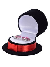 5pcs Hat Shape Lovely Earrings Ring Velvet Gift Display Box Jewelry Necklace Case Black Red,6x6x3.5cm(China)
