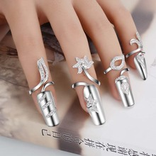 Ring finger cuff fingertip cover fingernail cap sheath rhinestones flower nickel-free plated fashion jewelry