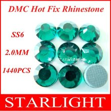 Wholesale,FREE SHIPPING,DMC hot fix rhinestone, Emerald Color ss6,China post air mail free,1440pcs/lot star15(China)