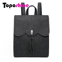 Toposhine 2016 New Women Backpack Female PU Leather Women's Backpacks Tassel Girls Bags Retro Lady Hot School Street Bags 1593