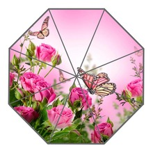 New Arrive Custom Colorful butterfly, flowers Umbrellas Creative Design High Quality Foldable Rain Umbrella