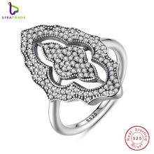 2016 New Collection Authentic Sparkling Lace Stunning Ring with Clear CZ Ring 100% 925 Sterling Silver Jewelry PA7153