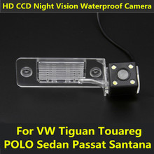 For VW Tiguan Touareg POLO Sedan Santana Passat Car CCD 4 LED Night Vision Backup Rear View Camera Parking Reverse Waterproof
