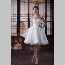 iLoveWedding Short A-Line Wedding Dresses Formal Sweetheart Lace Tulle Bow Zipper Knee Length Bridal Gowns YW0052