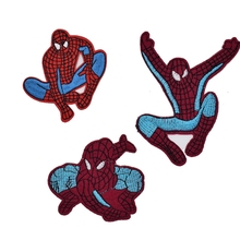 2PC Retro SuperHero Amazing Spiderman Spider Man Face LOGO Gift Animated MOVIE Costume Embroidered Emblem applique iron on patch(China)