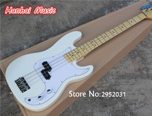 Hot Sale Custom 4-String Bass Guitar with White Color,Maple Fretboard,2 Open Pickups,Chrome Hardware,can be Customized