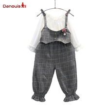 Girls Clothing Sets Summer Children's Outfits Overall Suit Casual T-Shirt+ Plaid Pants 2 Pcs Long Sleeve Clothing Sets Kids