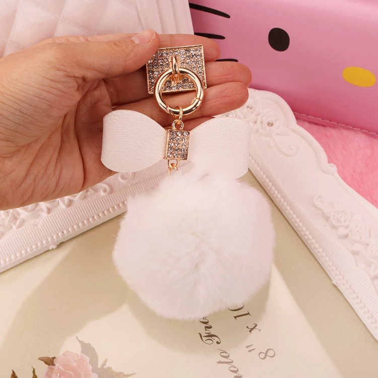 2016 Gold Real Rex Rabbit Fur Ball Keychain fur pom pom Keychains llaveros Crystal Bow Key Chain porte clef Phone Accessories(China (Mainland))