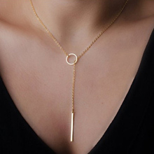 2015 European and American trade extreme simplicity simple metal pendent necklace short chain for women
