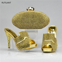 New Arrival Gold Color Shoes and Bag Set Decorated with Rhinestone High Quality Matching Italian Shoes and Bag Set for Wedding