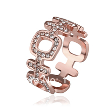 "LR512 New  Rose Gold Color Finger Rings Chinese Meaning ""Happy"" Austrian Crystal Rhinstone Pave Items Fashion Women Jewelry"