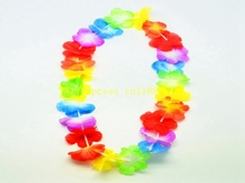 10pcs/lot Free Shipping Hawaiian leis Party Supplies Garland Necklace Colorful Fancy Dress Party Hawaii Beach Fun R02(China)
