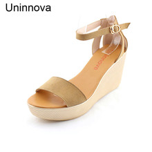 Uninnova Ankle Strap Wedge Heels Platform Flat Sandals Shoes High Heeled Sandals Extral Small Size Plus Size 33-41 WSA058(China)