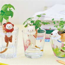 1pcs Animal Tail Self-Watering Straw Plant Mini Monkey Cat Dog Bonsai Animal Planters With Straw Cup Soil And Seed Desktop Decor(China)