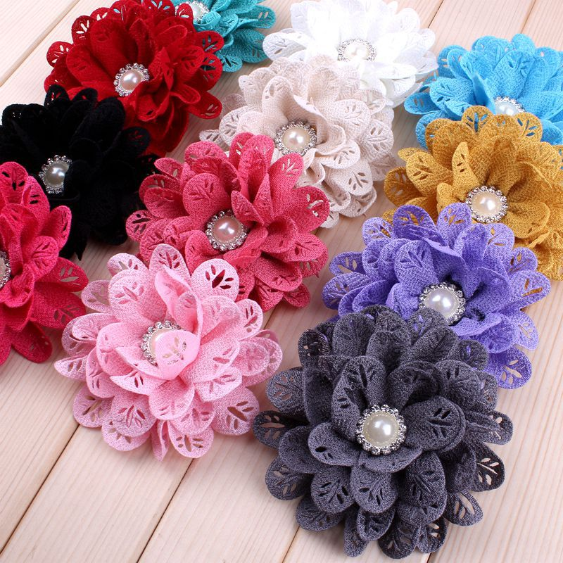 "120pcs/lot)3.8"" 12 Colors Hair Clips Fabric Flower For Princess Hollow Out Leaf Flowers With Pearl Center For Craft Headband DIY"