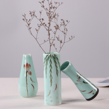 Home decor hand-painted ceramic vase celadon lotus flower glaze ceramic vase