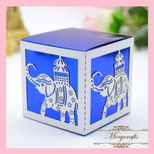 2017 Delicate Wonderful Design Elephant Animals Carved Pattern Customizable Festival Decorations Laser Cut Candy Favor Box(China)