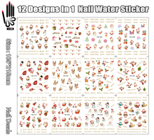 12 Sheets/Lot Nail Decal YB277-288 Noel Red Santa Claus Christmas Nail Art Water Transfer Sticker For Nail(12 DESIGNS IN 1)