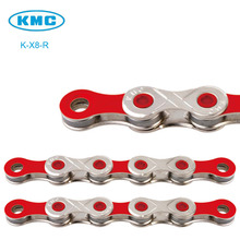 Original K-X8 Red Bike 8 Speed KMC Road Chain for Trekking 116 Links Nickel Plated 8S MTB Road Bicycle Chain 116L + Magic Link(China)