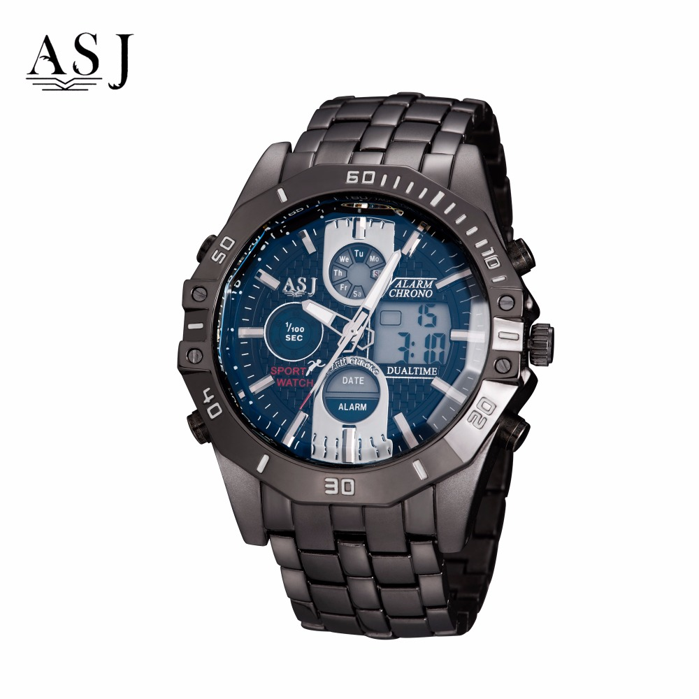 ASJ Double DisplayDports Backlight WaterproofMulti -Functional Quartz Electronic Steel Men s Watches<br>