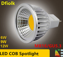 50X DHL New High Power Lampada Led MR16 GU5.3 COB 6w 9w 12w Dimmable Cob Spotlight Warm Cool White MR16 12V Bulb Lamp GU5.3 220V(China)