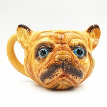 Hand Painted Cute Bulldog Ceramic Handle Water Cups Milk Coffee Cups Travel Souvenirs Mugs Home Office Drinkware Gift(China)