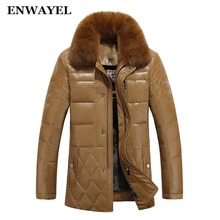 ENWAYEL Down Jacket Men Leather Jacket Male Down Coat Jackets Windproof Warm Fox Fur Collar NEW 2017 Autum Winter(China)