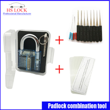 Blue padlock practice lock set with Nanomete Insert Sheet 5pcs Door Lock Opener with broken key extractor kits(China)