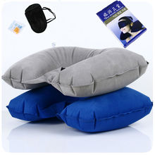Portable Inflatable U shaped Pillow Travel Head Neck Rest Air Cushion Sleep eye patch earplugs travel kits outdoor