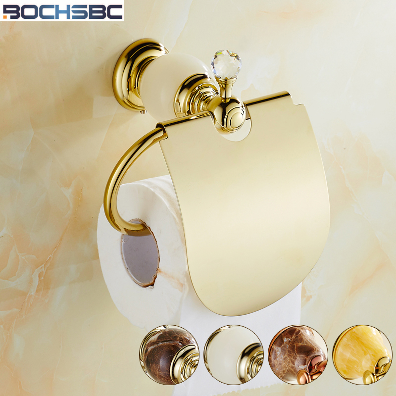 BOCHSBC Rose Gold Toilet Paper Holder European Marble Jade Base Paper Rack Copper Toilet Tissue Holder Bathroom Accessories<br>