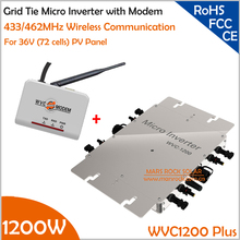 Waterproof 1200W MPPT Grid Tie Micro Inverter & Modem with 433/462MHz Wireless Communication Function, 22-50VDC to AC110V/220V(China)