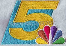 FREE Shipping custom embroidery patches for the number 5 with flower logo iron on the clothing