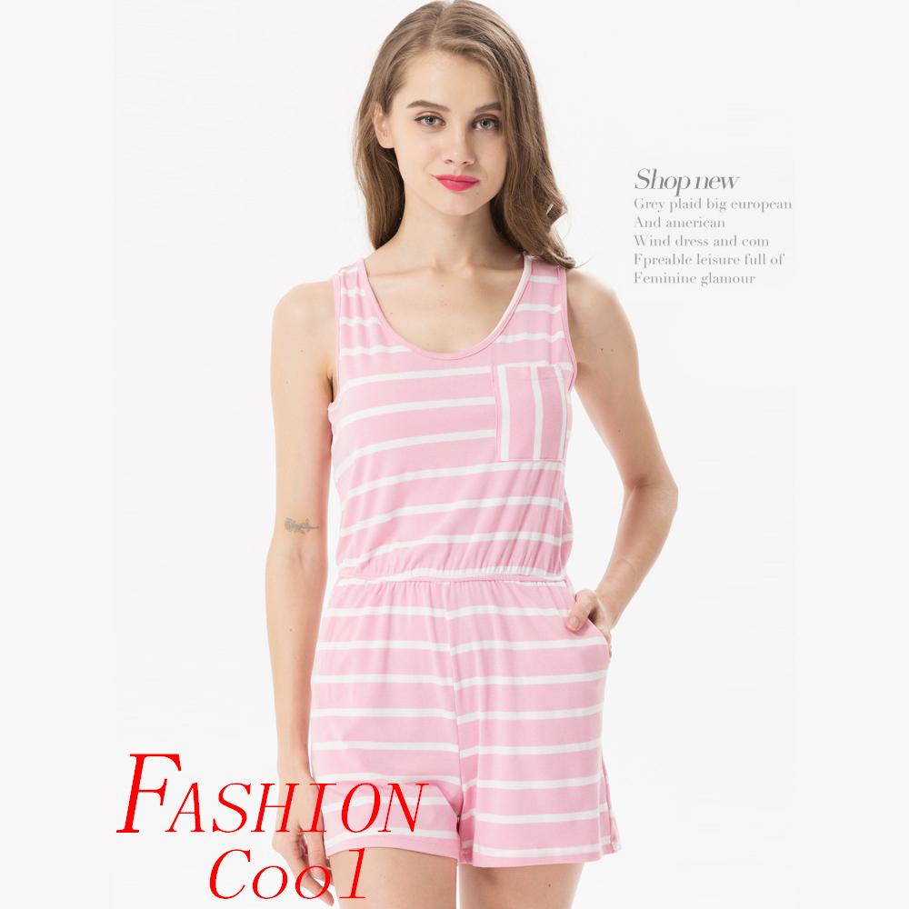 Siskakia mody młodzieżowej Letnie nastolatek dziewczyny Playsuit Przebrania paski patchwork slim fit krótkie elegancki 100% bawełna odzież różowy 24