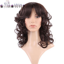 S-noilite None Lace Wigs Bouncy Curly Synthetic Glueless Wig For Black Women with full Bangs real natural for human party(China)