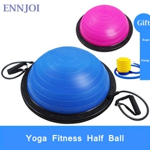 ENNJOI High Quality Yoga Ball Body Balance Half Yoga Ball Fitness BOSU Ball Exercise Gym Ball with Resistance Band Inflator Pump