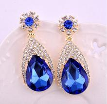 Fashion Blue Color Big Crystal Vintage Drop Earrings For Women Dangling Earrings Brincos Grandes Party Jewelry(China)