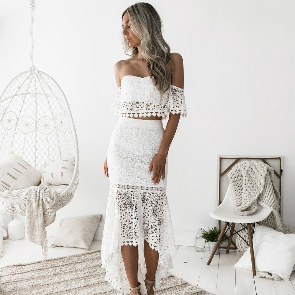 2018 Women White Lace Dress 2 Pcs Set Sexy Slash Neck Backless Pencil Dress Spring Dresses