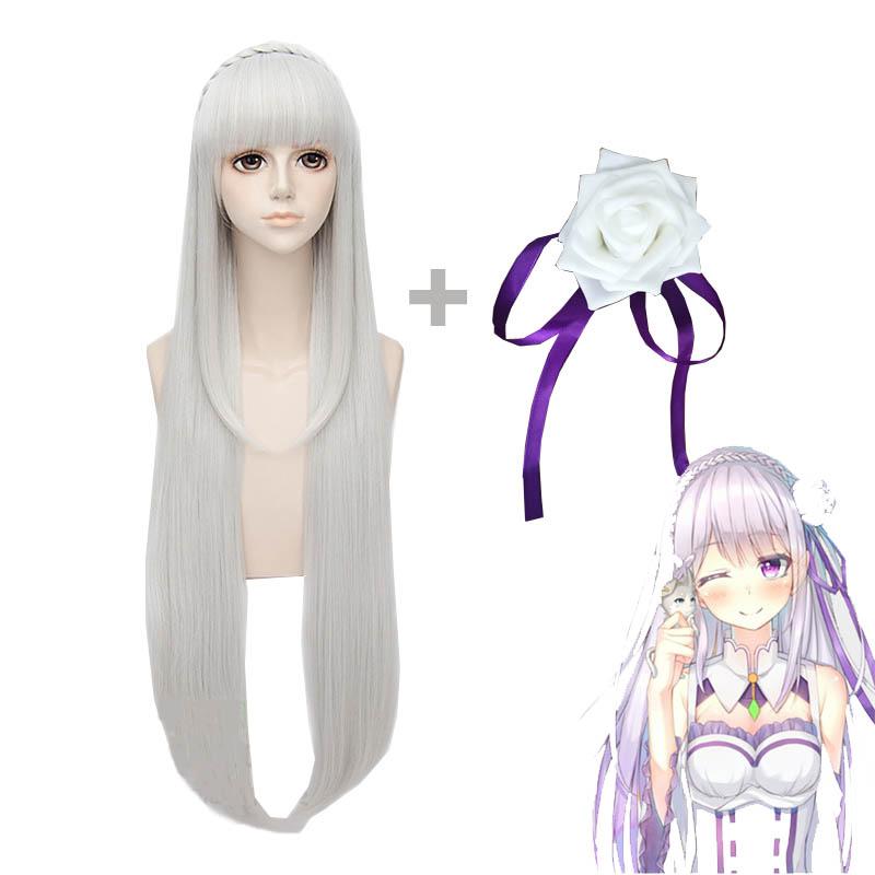 Coshome Re Zero Kara Hajimeru Isekai Seikatsu Emilia Wigs Cosplay Costumes Women Short Dress With Headdress For Halloween Party (6)