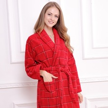 Cotton bathrobe women men's robe nightgown towel sleepwear for girl thickening lovers medium-long super soft winter(China)