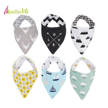 Muslinlife 1pcs Reversible Newborn Baby Bibs Waterproof Cotton Baby Boy Girl Infantil Bandana Burp Cloths for Babies 0-3T(China)