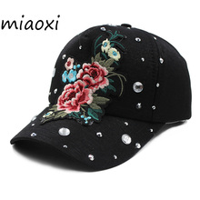 miaoxi High Quality Baseball Cap Shop Women Beauty Floral Rose Summer Hat Hats Adjustable Cotton Bonnet Girl Snapback Bonnet