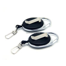 SAMSFX Fly Fishing Zinger Retractor Stopper Tool Holder Clip on Tether Retractable Reel Badge Holder Key Chain Nylon Cord 2pcs(China)