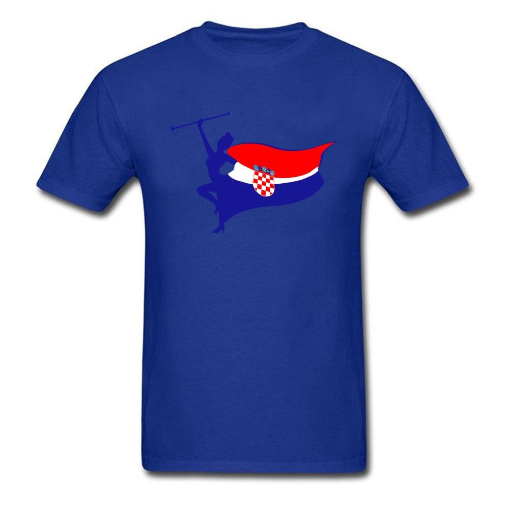 Pure Cotton Men Short Sleeve Croatia logo T Shirt Customized Tops Tees Slim Fit Geek Crew Neck Tee Shirts Top Quality Croatia logo blue