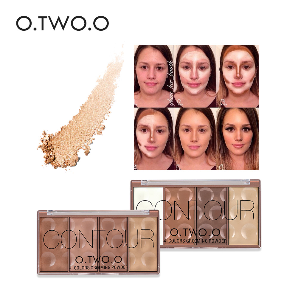 O.TWO.O Face Make up Waterproof Grooming Powder with Pressed Powder Contour Bronzer Blush Blusher Highlighter Shading(China (Mainland))